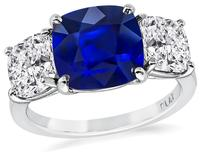 3.11ct Sapphire GIA Certified 2.12ct Diamond Engagement Ring