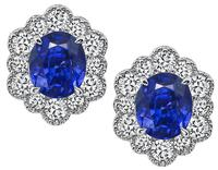 5.66ct Ceylon Sapphire 1.28ct Diamond Earrings