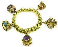 Vintage Multi Gem Gold Novelty Charm Bracelet