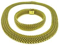 Estate Gold Weave Necklace and Bracelet Set