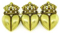 Estate Kieselstein Cord Triple Royal Crown and Heart Pin