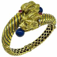 Vintage Lapis Diamond Ruby Enamel Lion's Head Bangle