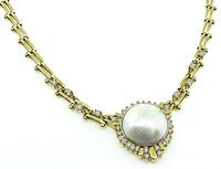 Estate Mabe Pearl 1.75ct Diamond Gold Necklace