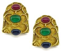 Estate Multi Color Precious Stone Gold Earrings