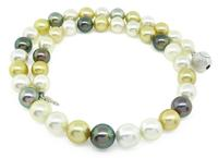 Estate Multi Colored South Sea Pearl with Silver Clasp Necklace