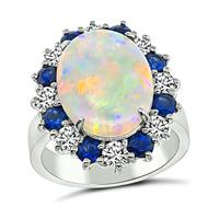 Estate 2.48ct Opal 0.75ct Sapphire 0.62ct Diamond Ring
