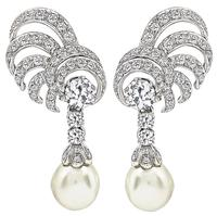 Vintage Pearl 3.00ct Diamond Drop Earrings