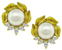 Estate Pearl Diamond Gold Earrings