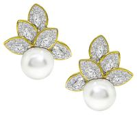 Estate 4.25ct Diamond South Sea Pearl Gold Earrings