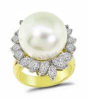 Estate South Sea Pearl 2.00ct Diamond Ring