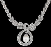 Estate 8.00ct Diamond Pearl Necklace