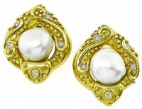 Estate Mabe Pearl Diamond Gold Earrings