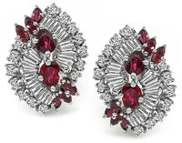 Estate 3.00ct Ruby 2.00ct Diamond Earrings