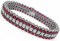Estate 9.00ct Ruby 3.75ct Diamond Gold Bracelet