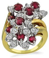 Estate 1.35ct Ruby 1.35ct Diamond Cocktail Ring