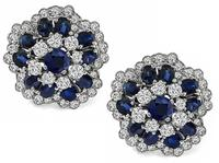 Estate 3.50ct Sapphire 2.25ct Diamond Earrings