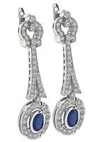 Estate 1.50ct Diamond 1.80ct Sapphire Drop Earrings