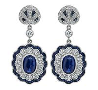 Estate 3.17ct Sugarloaf Sapphire 2.33ct Diamond Earrings