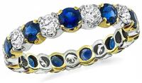 Estate 1.50ct Sapphire 1.00ct Diamond Eternity Wedding Band
