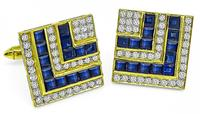 Estate 3.00ct Sapphire 2.20ct Diamond Gold Cufflinks