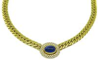 Estate 9.00ct Sapphire 1.40ct Diamond Gold Necklace