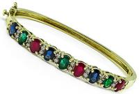 Estate 8.70ct Multi Color Precious Stone 0.80ct Diamond Gold Bangle