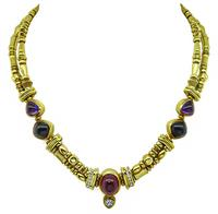Estate Seidengang Diamond Multi Colored Stone Gold Necklace
