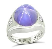 Estate 12.00ct Star Sapphire 0.50ct Diamond Ring