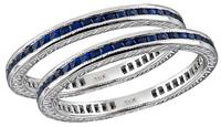Estate 1.80ct Sapphire Eternity Wedding Band Set