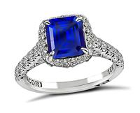 Estate Tacori 2.02ct Ceylon Sapphire 0.60ct Diamond Engagement Ring