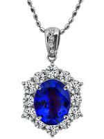 Estate 5.73ct Tanzanite 1.72ct Diamond Pendant Necklace