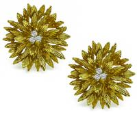 Estate Tiffany & Co Diamond Gold Earrings