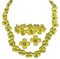 Estate Tiffany & Co Gold Dogwood Jewelry Set