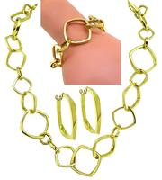 Tiffany & Co Gehry Gold Necklace Earrings and Bracelet Set