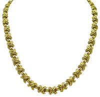 Estate Tiffany & Co X Motif Gold Necklace