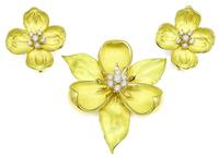 Tiffany & Co 1.25ct Diamond Gold Magnolia Pin and Dogwood Earrings Set