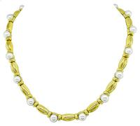 Estate Tiffany & Co Pearl Gold Necklace