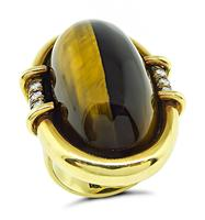 Vintage Tiger's Eye 0.20ct Diamond Gold Ring