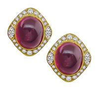 Estate 40.00ct Pink Tourmaline 2.90ct Diamond Gold Earrings
