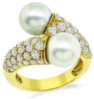 Estate Van Cleef and Arpels 1.62ct Diamond Pearl Ring