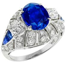 Ceylon Sapphire Center  Diamond Gold Ring
