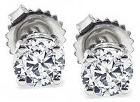 Estate GIA Certified 1.08cttw Diamond Stud Earrings
