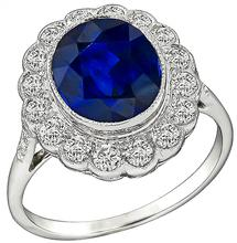 Estate 3.00ct Sapphire 0.50ct Diamond Ring