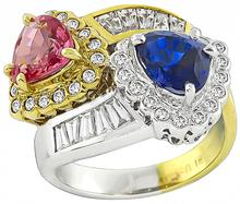 3.50ct Pink and Blue Sapphire 1.00ct Diamond Cross Over Ring