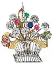 Vintage 0.50ct Diamond Precious Stone Basket of Flower Pin Photo 1