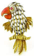 Estate Enamel Diamond Ruby Gold Bird Pin Photo 1