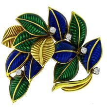 Estate Round Cut Diamond Enamel 18k Yellow Gold Foliage Pin