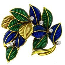 Estate Round Cut Diamond Enamel 18k Yellow Gold Foliage Pin