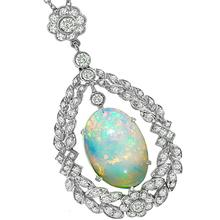 Edwardian Style 3.71ct Cabochon Oval Opal 1.13ct Round Diamond 18k White Gold Pendant