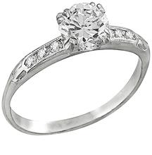 Estate Antique 0.70ct Old European Cut Diamond Platinum Engagement Ring and Lambert Brothers Wedding Band Set